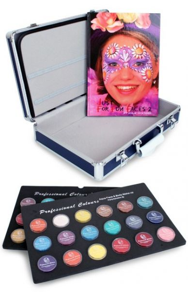 PXP Face Paint case with 36x10g jars and face paint book