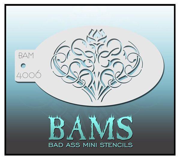 Bad Ass BAM face paint stencil 4006