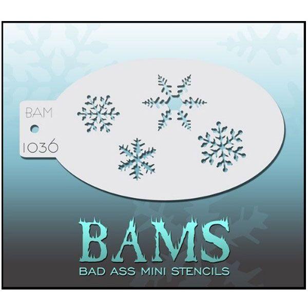 Bad Ass BAM face paint stencil 1036 snow