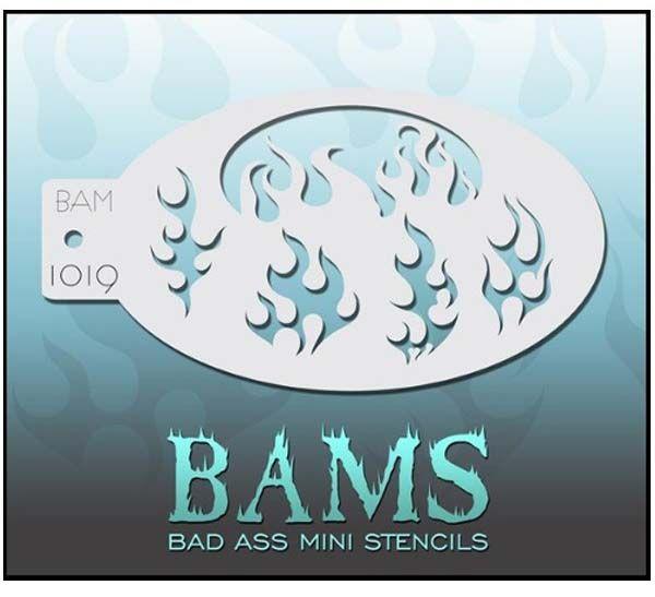 Bad Ass BAM face paint stencil 1019 fire