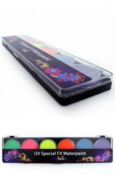 PXP fluor Face Paint palette 6 colours PartyXplosion