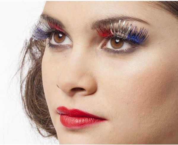 Eyelashes laminate red white blue