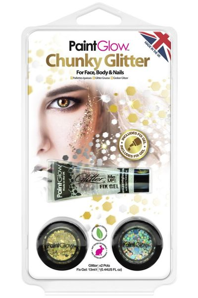 PaintGlow set chunky glitters Sparkle Gold Silver