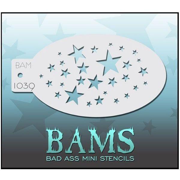 Bad Ass BAM face paint stencil 1039 stars