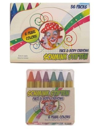 Face Paint Pencil 6 colour pearl